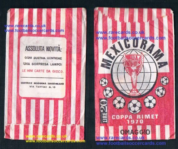 1970 Mexicorama WC70 cards in an original sealed packet, from Italy